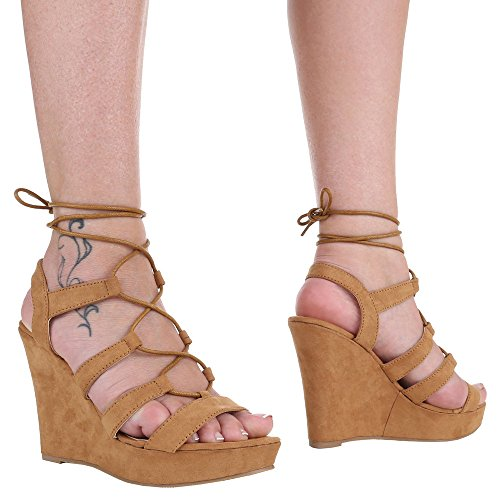 Damen Schuhe, 1336-KL, SANDALETTEN PUMPS MIT SCHNÜRUNG Camel