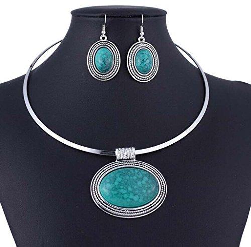 Chunky Argent Tibet Turquoise ovale Pendentif Couple Ensemble collier boucles d'oreilles Collier ras du cou Vert