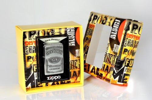 Zippo, Accendino, confezione regalo Premium, motivo: etichetta Jack Daniel's, in cromo spazzolato, Argento (Edelstahloptik)