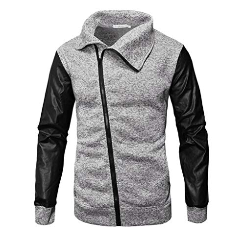 GreatestPAK Herren Casual Herbst Winter Reißverschluss Leder Patchwork Outwear Tops Bluse Mantel, Grau, L