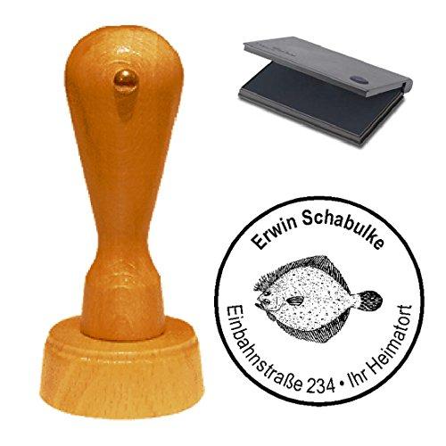Stempel mit Kissen « FLUNDER » Adressenstempel Firmenstempel Fischer fischen Angler