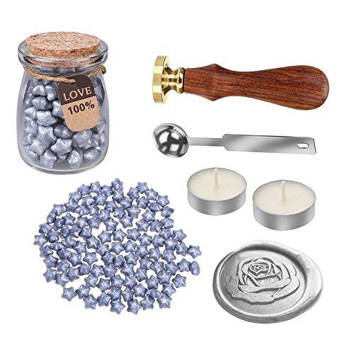 mylifeunit Rose Wachs Siegel Stempel Kit für Hochzeit, Hüllen Retro Versiegelung mit Wachs Set 110 mm*200 mm*90 mm silber