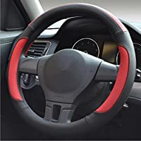 QLL La nueva cubierta del volante del coche de cuatro estaciones universal perforado transpirable antideslizante , Negro rojo , 40cm