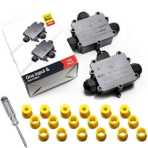 Abzweigdosen Wasserdicht Verteilerdose IP68 Klemmdose Wasserdichte Kabelverbinder für Aussen Größere 3-Wege Kabelverschraubung Ø 4mm-14mm