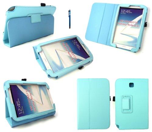 Emartbuy® Samsung Galaxy Note 8.0 (N5100 / N5110) Tablet Türkis Stylus + Baby Blau Pu Leder Multifunctional/Multi Angle Wallet/Decken / Stand/Typing Fall (Samsung Note 4 Fall Türkis)