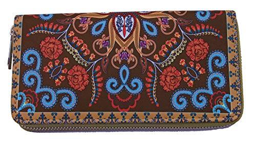 Damengeldbörse Indio Braun im indischen Paisley-Ornamentik-Design