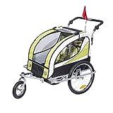 homcom 440-001GN 2 in 1 Fahrradanhänger Jogger 360° Drehbar für Kinder, grün / schwarz