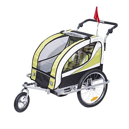 homcom 440-001GN 2 in 1 Fahrradanhänger Jogger 360° Drehbar für Kinder, grün/schwarz
