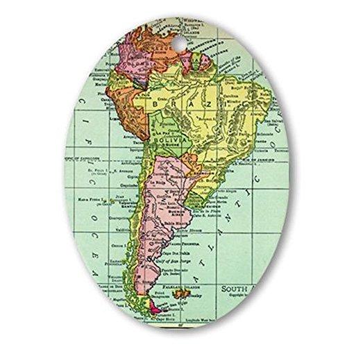 CafePress–Südamerika Karte–oval Urlaub Weihnachten Ornament -
