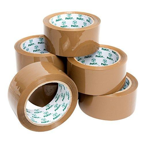 PAKIT 6 Rollen Paketband ultra stark Klebeband 50mm braun 66 Meter Tape Packband Paketklebeband 50 Mikron Abklebeband