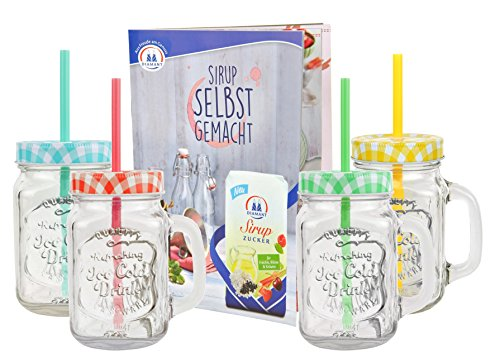 4er Set Glasbecher mit Deckel und Trinkhalm inkl. Rezeptheft - grün / rot / gelb / türkis kariert - 0,5 Liter Trinkbecher / Trinkglas mit Relief - für Säfte, Smoothies und andere Erfrischungsgetränke