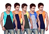 White Moon Solid Gym Vests - Pack of 5 (...