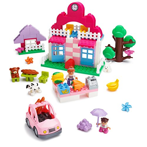 Play-Build-Supermarket-Building-Blocks-Set--95-Pieces--Includes-Grocery-Store-Cash-Register-House-Tree-Car-Food-Mom-Girl-Minifigures-Dog-Rabbit-More-Compatible-with-LEGO-DUPLO