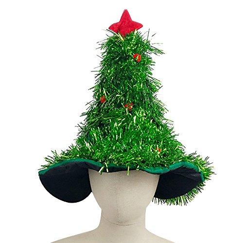 (Eizur Weihnachtsbaum Hut Weihnachtshut Weihnachten Klamotten Kostüm Weihnachtsmütze Weihnachtsbaum Zubehör für Weihnachten Karneval Halloween - Grün)