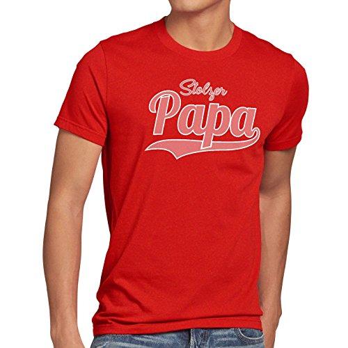 style3 Stolzer Papa Herren T-Shirt Vater Dad Spruchshirt Funshirt Rot
