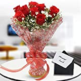 FLORAINDIA Fresh Flowers Bunch of 8 Red Roses