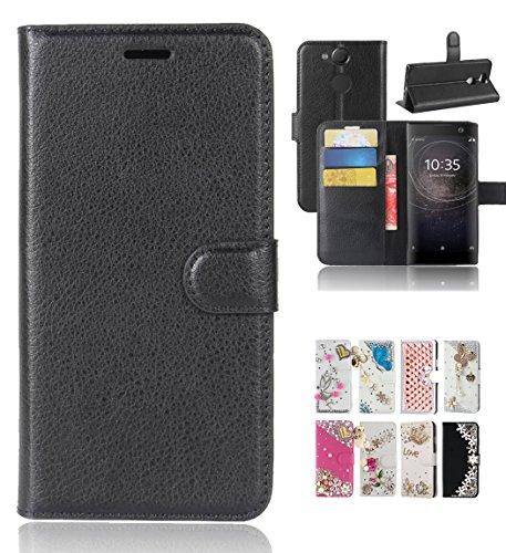 Coque Sony Xperia XA2, Bt-share faite à la main Bling Diamant Flip Béquille Cuir Portefeuille & fentes de carte et fermeture magnétique Housse de protection pour Sony Xperia XA214cm