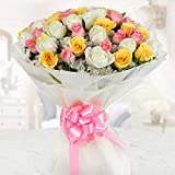 GoldenCart Fresh Flower Delivery of Garden Fresh PREMIUM FLOWERS packed in Exquisite and Exotic packaging to Convey that 'special feeling' of 'Pure love and Commitment' to your loved ones (Extra Large Bouquet, Mix)