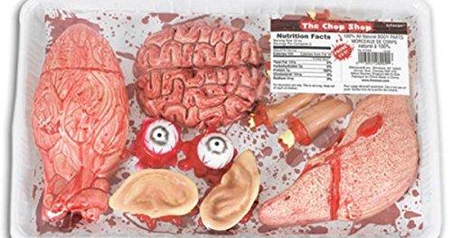 Amscan 673403-55 - Körperteile und Innereien, 1 blutiges Set bestehend aus Gehirn, Augen, Ohren, Finger, Leber und Lunge…