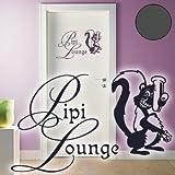 Jintora Wall Jintora Sticker mural / Décoration 'Pipi Lounge' 60cm x 38cm anthracite - Salle de bain Cuisine Salon Hotel Maison École