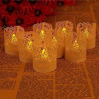 ASENART Flameless Tea Light Votive Wrap Candle Holder Set (50 Pack) LED Battery Tealight Candles (Not Included) (White)