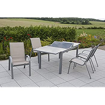 Amazon.de: MERXX Gartenmöbel-Set Amalfi, silber/champagner 7 tlg.
