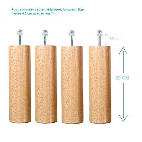 lot-4-pieds-bois-20-cm-vernis-naturel-pour-sommier-cadre-metallique