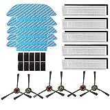 Amoy Filter und Mop Kit Ersatz,5 * Wischtuch + 5 * Filter + 6 * Seitenbürsten,kompatibel Ecovacs Deebot OZMO Slim 10 Roboter Staubsauge