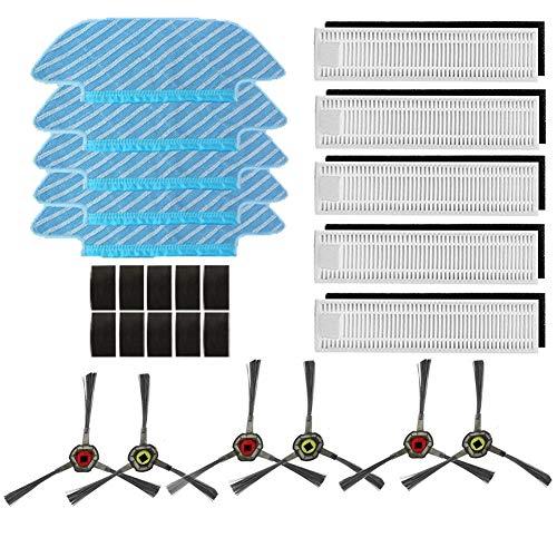 Amoy Filter und Reinigungstuch Kit Ersatz,5 * Wischtuch + 5 * Filter + 6 * Seitenbürsten,kompatibel Ecovacs Deebot OZMO Slim 10 Roboter Staubsauge -
