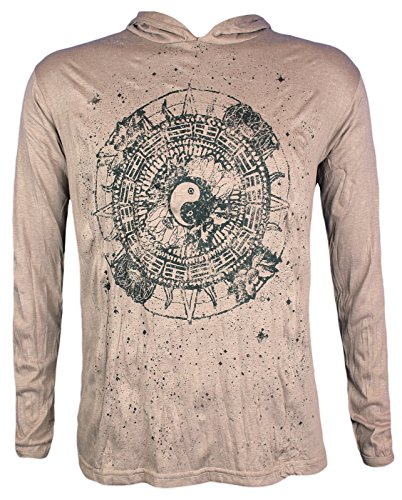 Pure Clothing Herren Kapuzen Longsleeve T-Shirt Leicht - Ying und Yang Buddhismus Meditation Yoga & Yin Hinduismus (Khaki M)