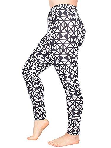 Leggins Damen Leggings leggings mit Muster bunt schwarz weiß elastisch 455 lang 8