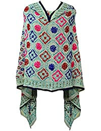 A Pure Blend Of Punjab Light Yellow Phulkari Dupatta With Multicolour Embroidery By Fly Soul