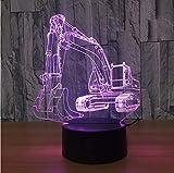 3D Bagger Nachtlicht Illusion Led Tisch Lam 7Farben Usb Neuheit Auto Form Schreibtisch Nachttischlampen Nachtlicht Deco Lampen Für Kinder Geschenk