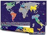 Mappa del mondo da grattare con bandiere + Mappa dell'italia da grattare in Regalo (Mappa del mondo 82 x 44 CM, Mappa dell'Italia 30 x 42 CM), Blu/Argento
