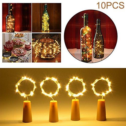 20 LED Kork Geformt LED Nacht Sternenklar Licht Kupferdraht Stopper Weinflasche Lampe Party Dekoration für Hochzeit Weihnachten Warm weiß LD961 (Diy Halloween-dekorationen Innen)