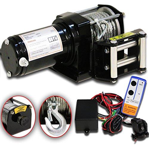 DMS® 12V Elektrische Seilwinde 1360KG Motorwinde 153:1 Funkfernbedienung Winde ESW-01