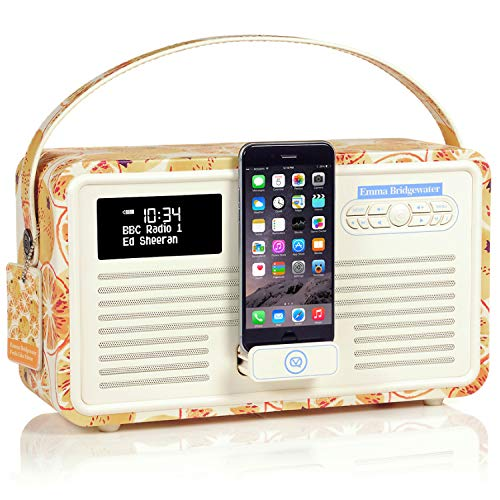 VQ Retro Mk II DAB/DAB+ Digital- und FM-Radio mit Bluetooth, Apple Lightning Dock und Weckfunktion - Emma Bridgewater Marmelade