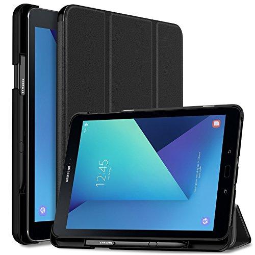 Infiland Samsung Galaxy Tab S3 9.7 Hülle,Ultra Superleicht Schutzhülle Case Tasche mit Auto Schlaf/Wach Funktion und S Pen Halter für Galaxy Tab S3 T820 / T825 (9,68 Zoll) Tablet-PC(Schwarz)