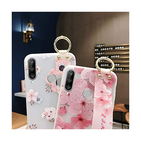 Uposao Compatible with Huawei P30 Lite Case with Hand Strap, Cute Pink Flowers Pattern Design Soft Silicone TPU Gel Flexible Cover with Wrist Strap Wristband Kickstand,Flower #5 Uposao Compatible Model: Huawei P30 Lite Package:1 x Bumper Case Cover,1 x Black Stylus Touch Pen Kickstand Feature: Comes with slidable elastic strap for your ring finger or wrist for comfortable grip and a built-in kickstand for optimum hands-free viewing. 4