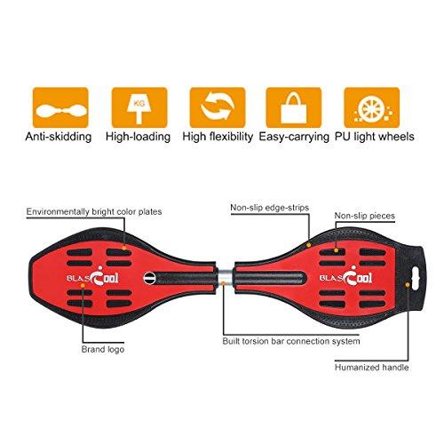 Blascool Waveboard Skateboard Caster Board Streetboard bis 90Kg mit Leuchtrollen rutschfester Deck ABEC-7 Kugellager Tasche 3 Farben zur auswahl -