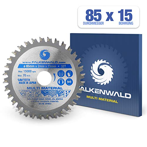 FALKENWALD ® Kreissägeblatt 85 x 15 mm - Ideal für Holz, Metall & Alu - Handkreissägeblatt kompatibel mit Tauchsäge & Kreissäge von Bosch & Makita - Universal Sägeblatt aus hochwertigem Hartmetall