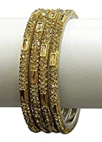 {Extra 20% Discount} Bollywood Style Amazing Crystal Stud Golden Bangles Partywear Indian Jewellery (2.4)