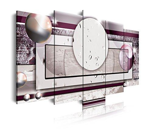 DEKOARTE 280 - Cuadro moderno en lienzo 5 piezas diseño abstracto con formas geométricas tonos morados, 150x3x80cm