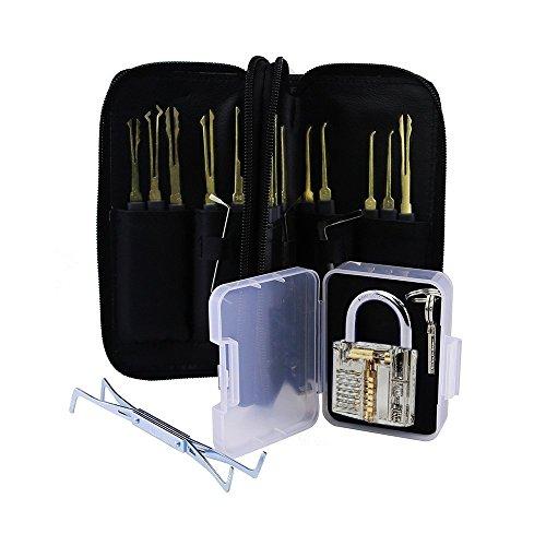 Profi Lockpicking Set 24-teiliges Pick-Set Dietriche Kit, Schlossknacken Schlüssel Extractor Werkzeug Set + Transparente Übungs-Vorhängeschlösser für Schlosserei, Geocacher, Polizei oder Hobby