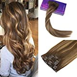 LaaVoo 14Pouce Extension Clip Marron Chocolat Balayage Caramel Blonde Dip and Dye 7Pieces/120Grammes Full Head Clip in Hair Extensions Lisse