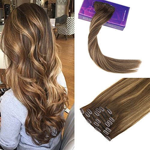 LaaVoo 24Pouce Clip Extension Cheveux Naturel Clips Invisible et Individuel 7 Pieces 100% Remi Hair Extension Clip ons Humains Balayage Couleur Brun Blond #4/27/4 120g