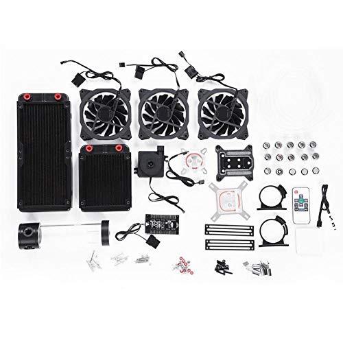 Garsent Kit de Refroidissement Eau, Kit Watercooling Refroidisseur PC Système de Refroidissement par Eau avec Ventilateur 120 mm RVB, Pompe à Eau Système de Refroidissement pour Ordinateurs.