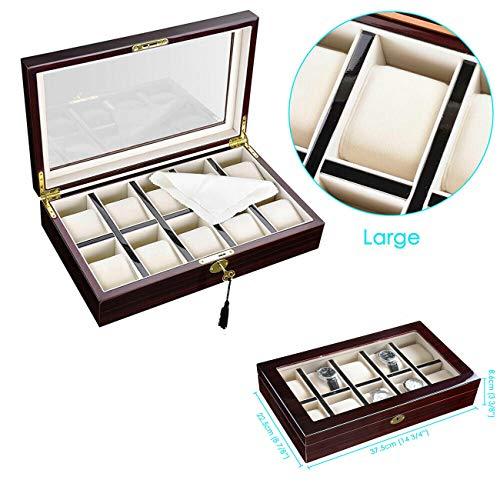 Conemi Uhrenschatulle Herren, Uhrenkasten Holz, Uhrenbox Für 10 Uhren, Uhrenkoffer