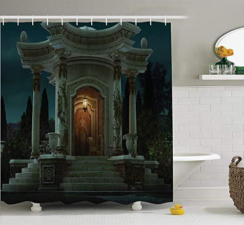 Soefipok gotischHaus Dekor Duschvorhang Set, römischer Pavillon Laterne Efeu auf Säulen unter Kuppel mittelalterliche Architektur Mystic Theme, Bad-Accessoires, Dunkles Elfenbein