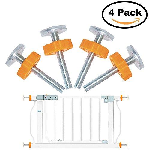 4pcs Druck montiert Baby Gates Gewindespindelstangen, Spaziergang durch Tore Zubehör Schraube Schrauben Kit - M10 x 10 mm, orange